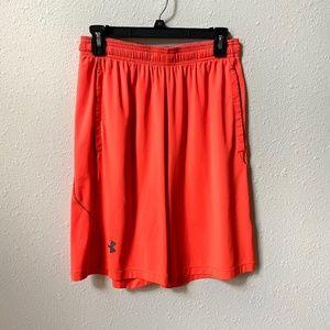 Under Armour Neon Orange Mens Athletic Shorts